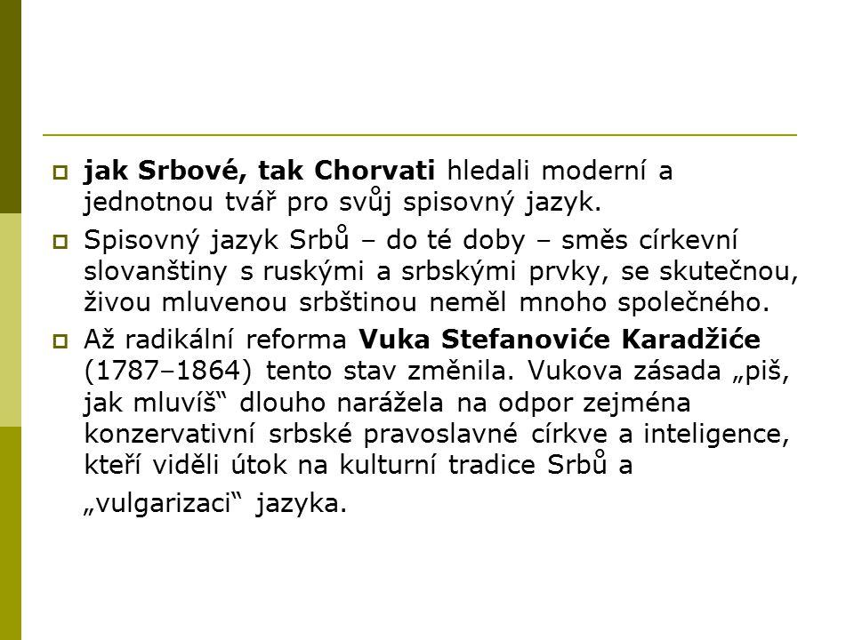 jak Srbové, tak Chorvati hledali moderní a jednotnou tvář pro svůj spisovný jazyk.