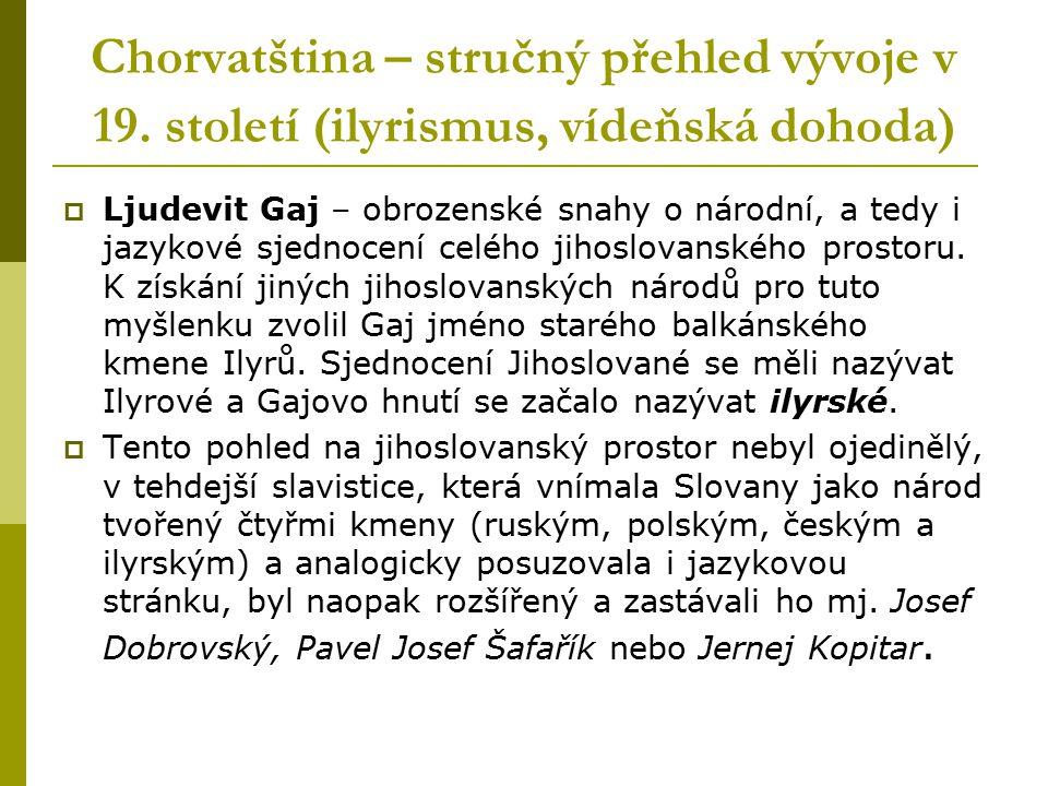 Chorvatština – stručný přehled vývoje v 19