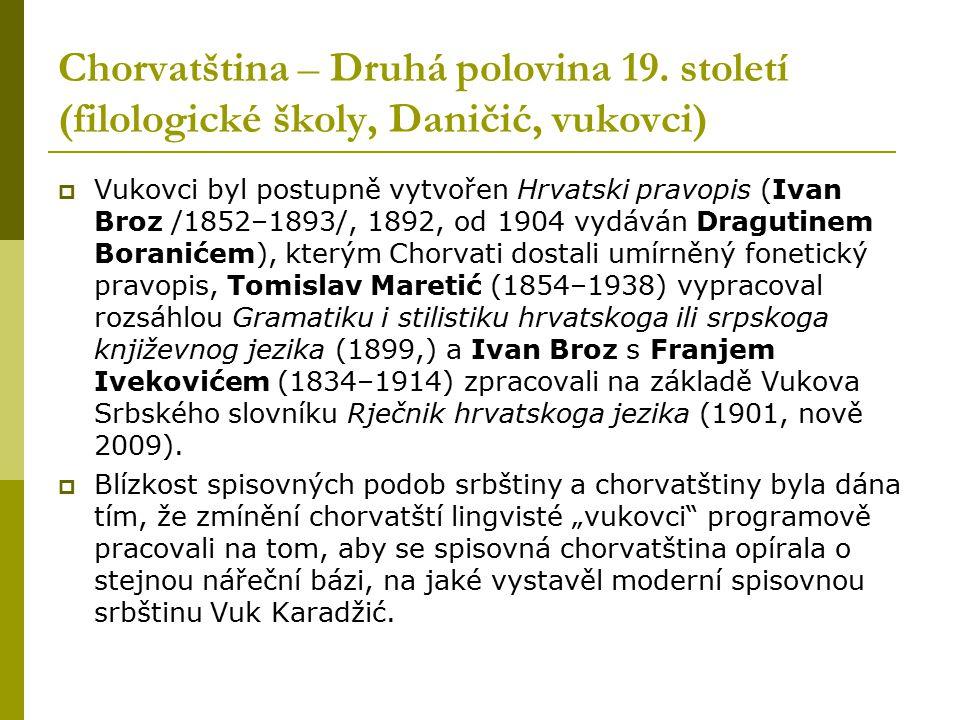 Chorvatština – Druhá polovina 19