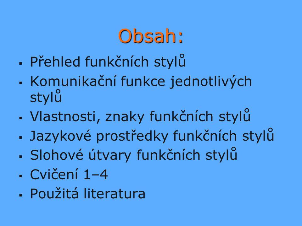 Obsah: Přehled funkčních stylů Komunikační funkce jednotlivých stylů