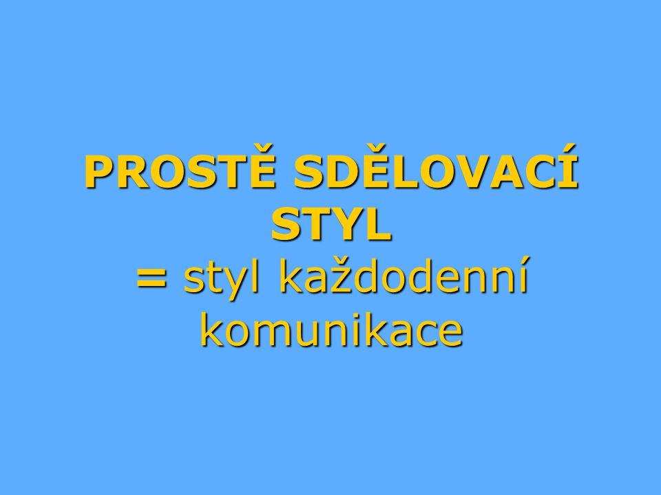 PROSTĚ SDĚLOVACÍ STYL = styl každodenní komunikace