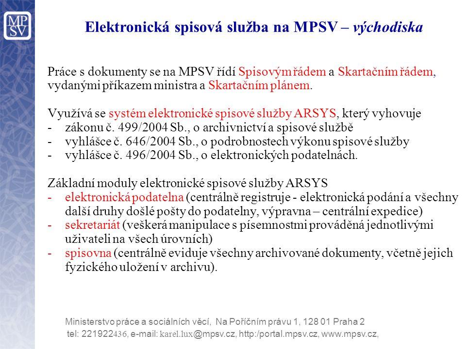 Elektronická spisová služba na MPSV – východiska