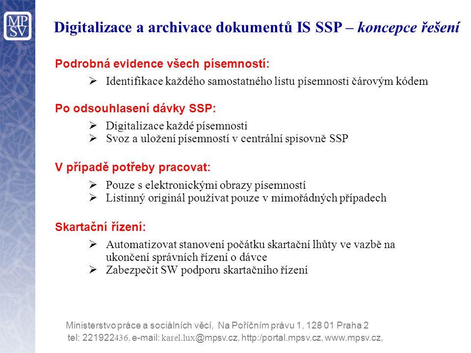 Digitalizace a archivace dokumentů IS SSP – koncepce řešení