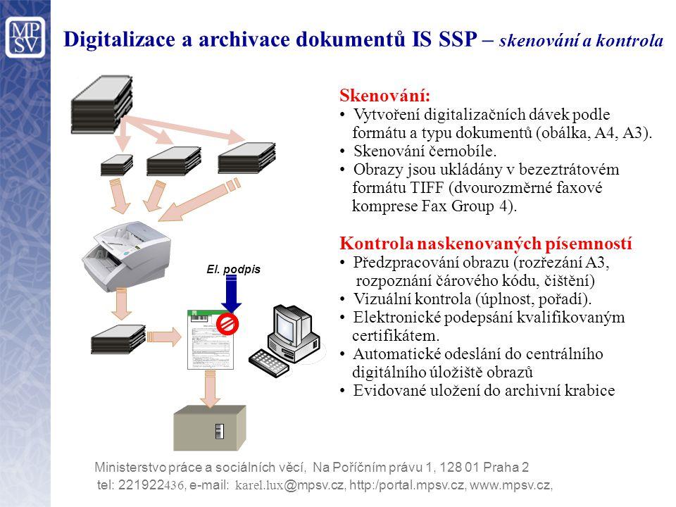 Digitalizace a archivace dokumentů IS SSP – skenování a kontrola