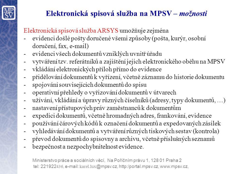 Elektronická spisová služba na MPSV – možnosti