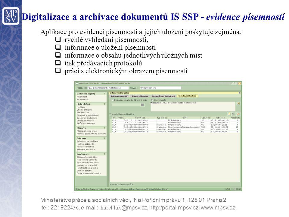 Digitalizace a archivace dokumentů IS SSP - evidence písemností