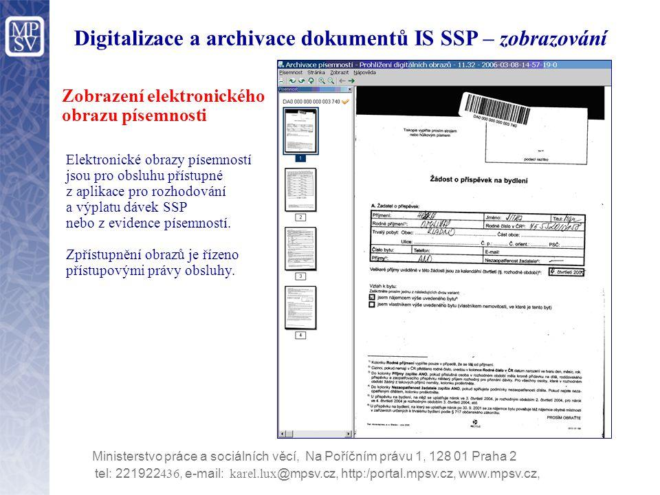 Digitalizace a archivace dokumentů IS SSP – zobrazování