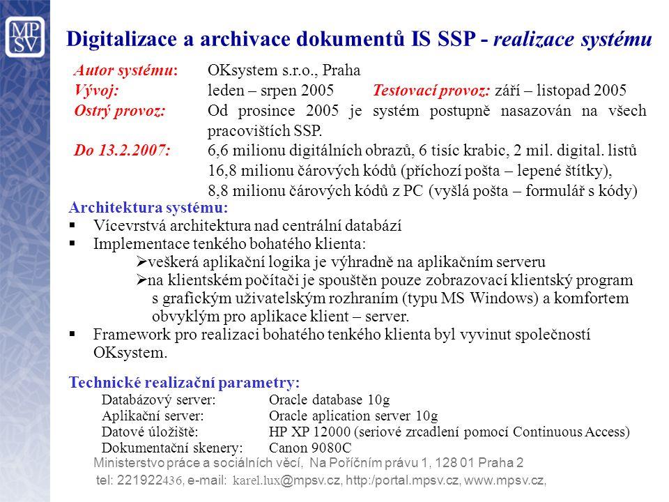 Digitalizace a archivace dokumentů IS SSP - realizace systému