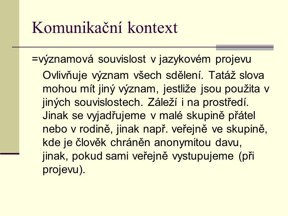 Komunikační kontext =významová souvislost v jazykovém projevu