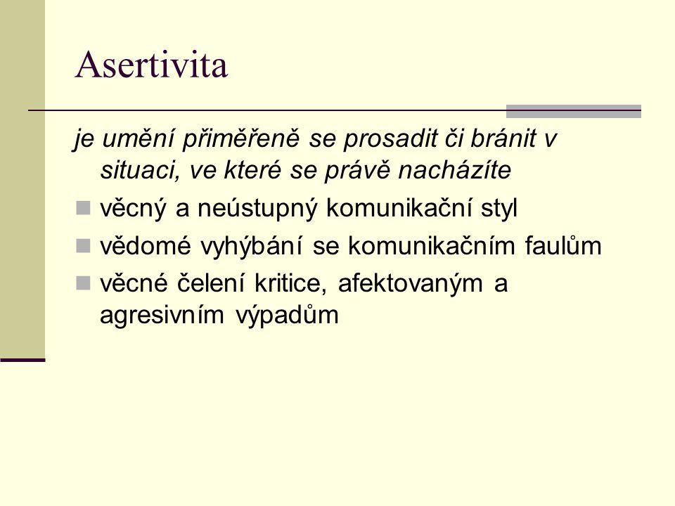Asertivita je umění přiměřeně se prosadit či bránit v situaci, ve které se právě nacházíte. věcný a neústupný komunikační styl.