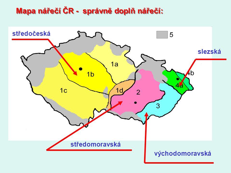 Mapa nářečí ČR - správně doplň nářečí: