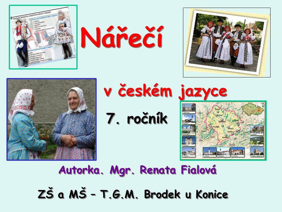 Nářečí v českém jazyce 7. ročník Autorka. Mgr. Renata Fialová
