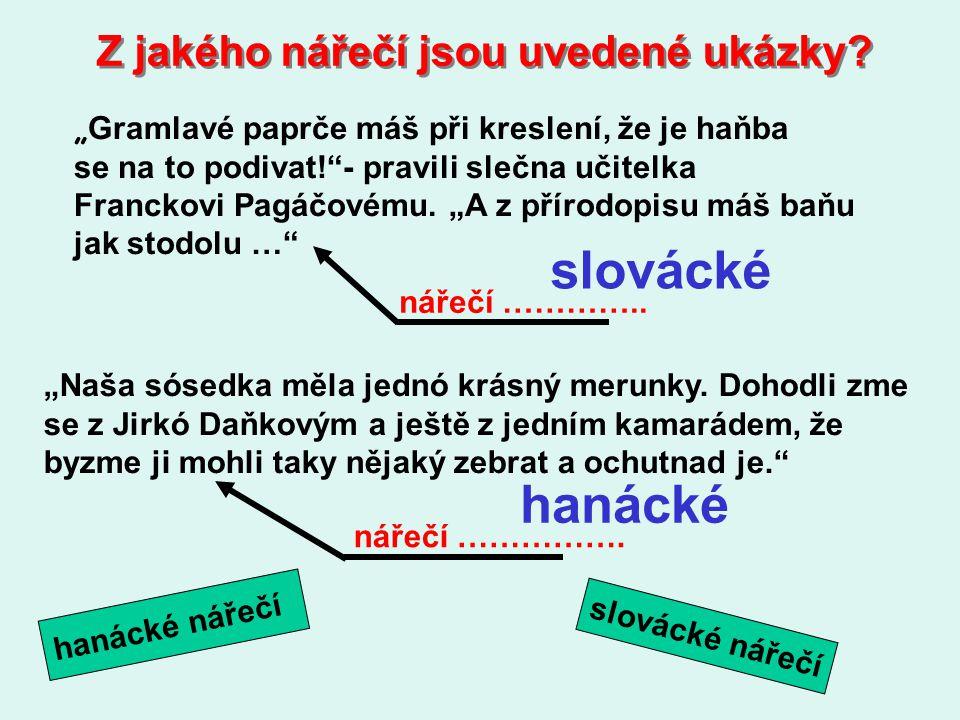 slovácké hanácké Z jakého nářečí jsou uvedené ukázky