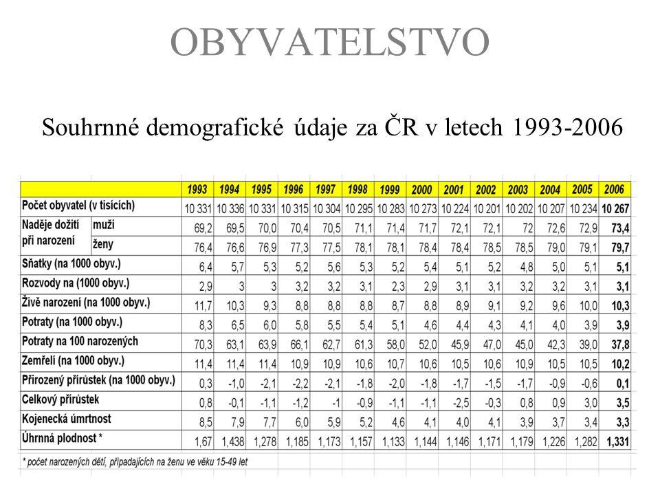 Souhrnné demografické údaje za ČR v letech 1993-2006