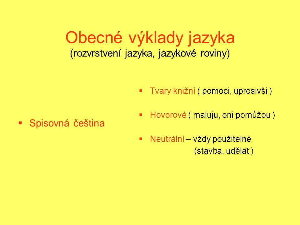 Obecné výklady jazyka (rozvrstvení jazyka, jazykové roviny)