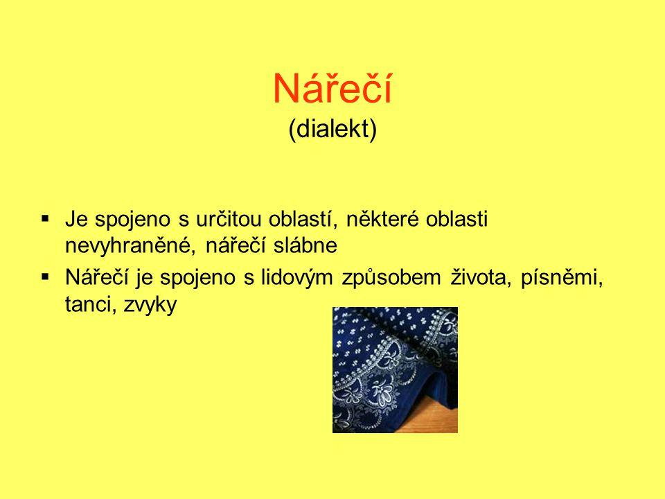 Nářečí (dialekt) Je spojeno s určitou oblastí, některé oblasti nevyhraněné, nářečí slábne.