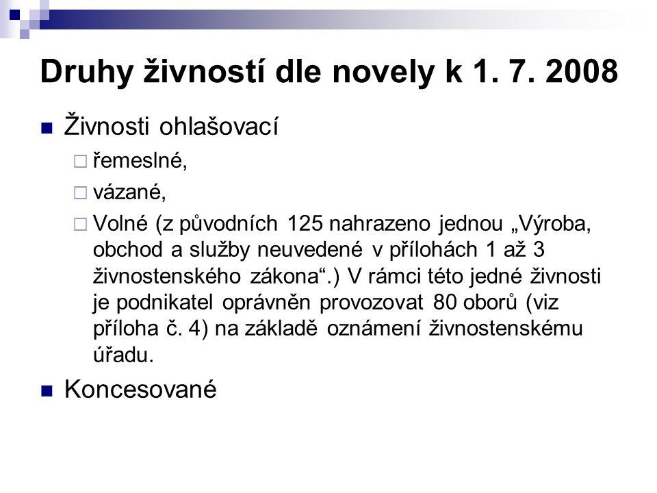 Druhy živností dle novely k 1. 7. 2008