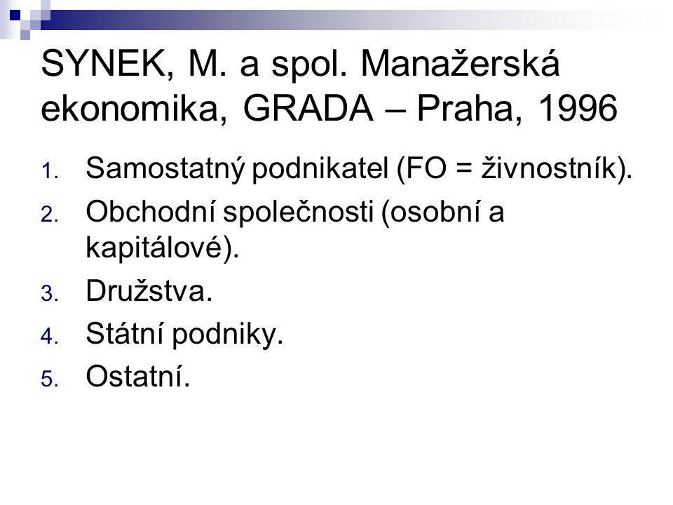 SYNEK, M. a spol. Manažerská ekonomika, GRADA – Praha, 1996
