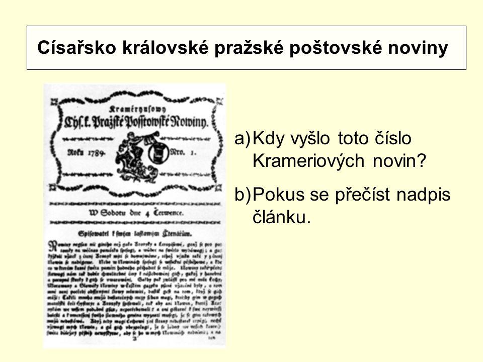 Císařsko královské pražské poštovské noviny
