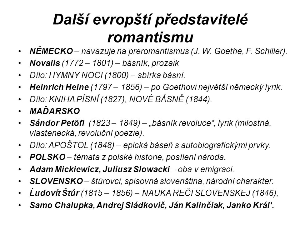 Další evropští představitelé romantismu