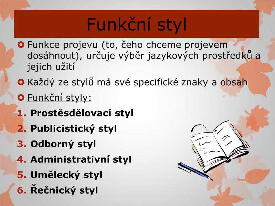Funkční styl Funkce projevu (to, čeho chceme projevem dosáhnout), určuje výběr jazykových prostředků a jejich užití.