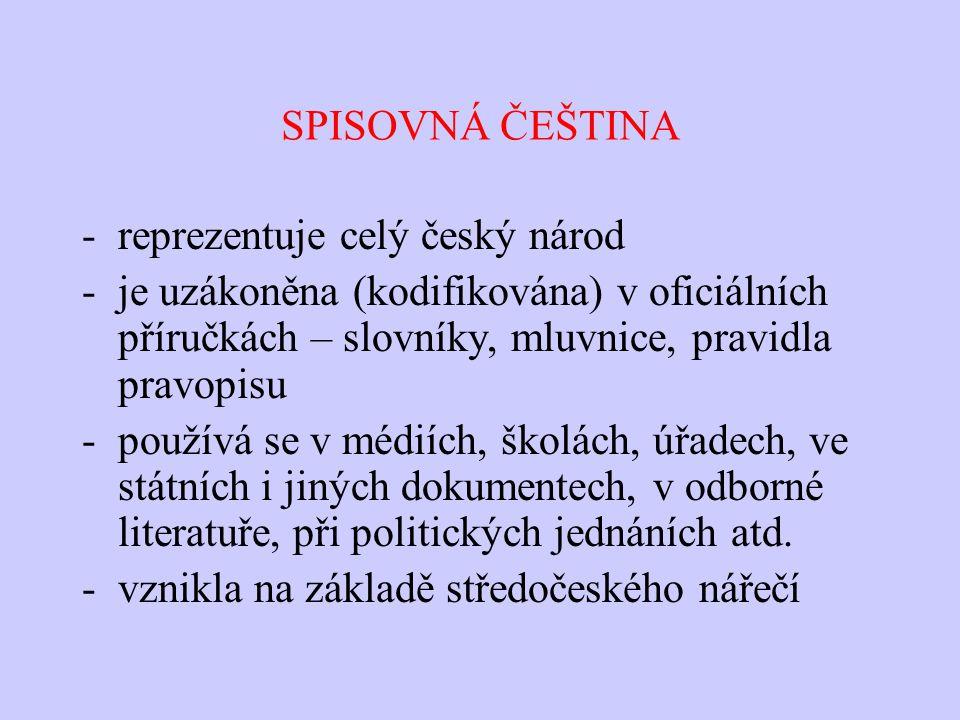 SPISOVNÁ ČEŠTINA reprezentuje celý český národ. je uzákoněna (kodifikována) v oficiálních příručkách – slovníky, mluvnice, pravidla pravopisu.