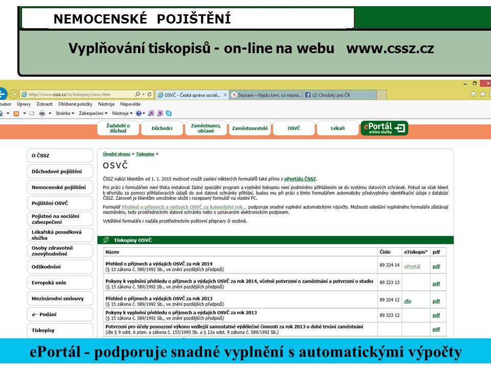 ePortál - podporuje snadné vyplnění s automatickými výpočty