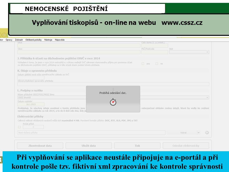 Vyplňování tiskopisů - on-line na webu www.cssz.cz