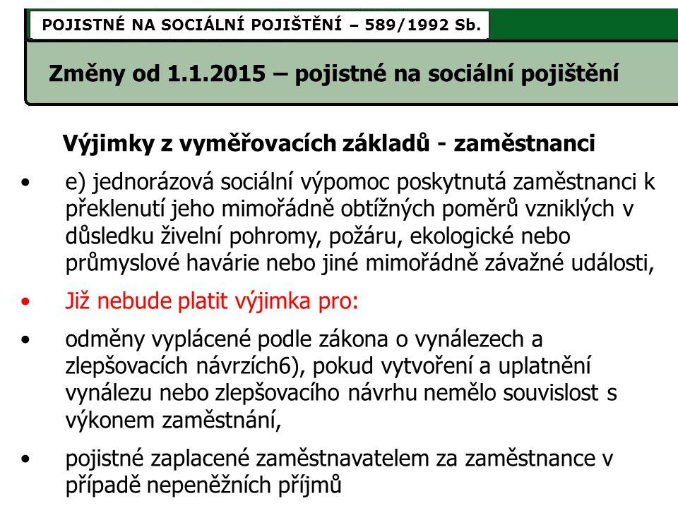 Změny od 1.1.2015 – pojistné na sociální pojištění