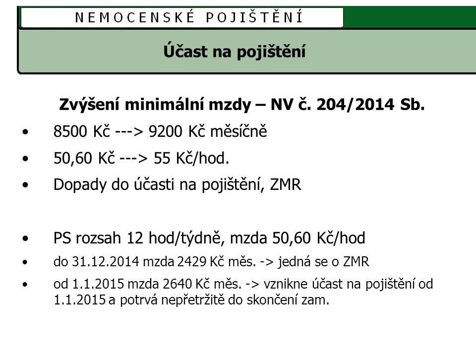Zvýšení minimální mzdy – NV č. 204/2014 Sb.