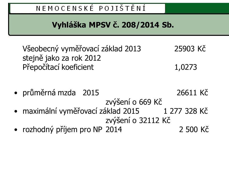 Vyhláška MPSV č. 208/2014 Sb. Všeobecný vyměřovací základ 2013 25903 Kč. stejně jako za rok 2012.