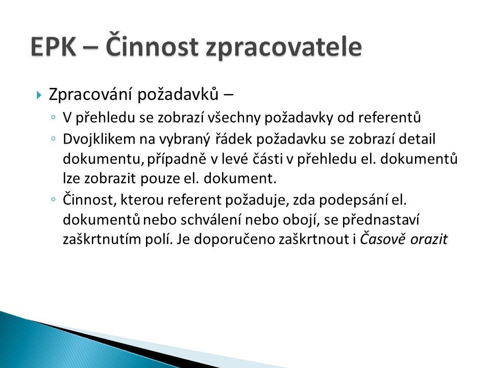 EPK – Činnost zpracovatele
