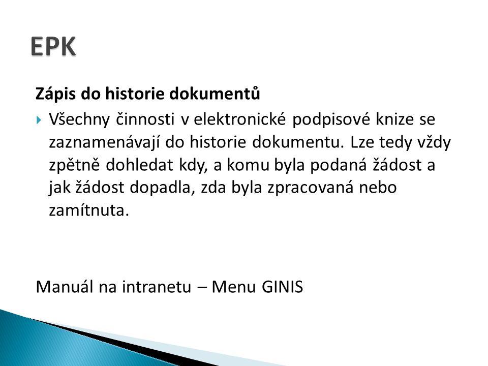 EPK Zápis do historie dokumentů