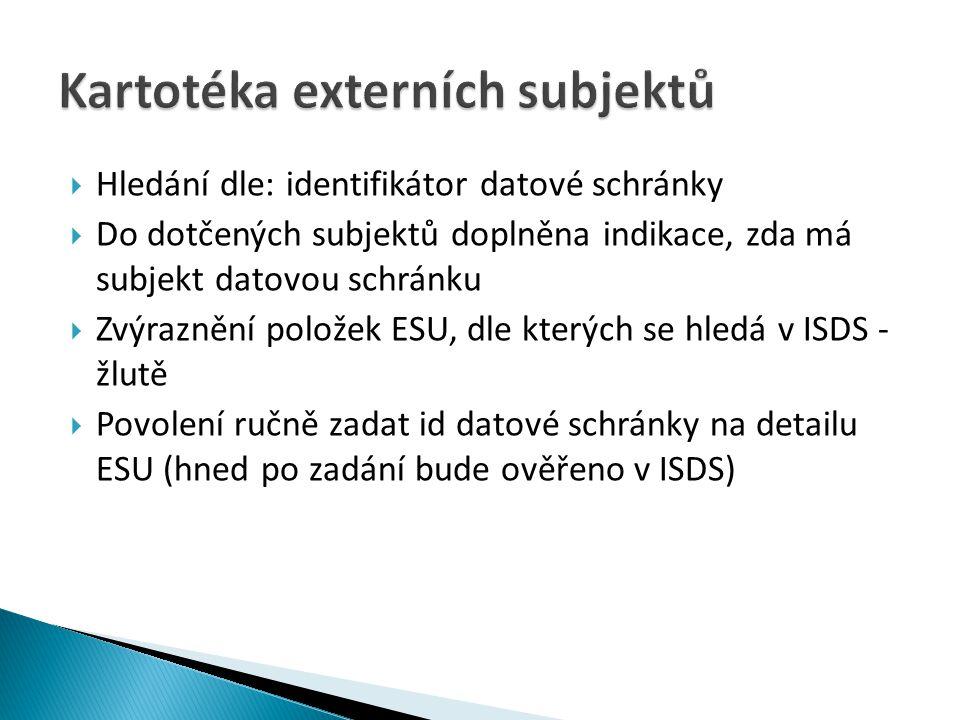 Kartotéka externích subjektů