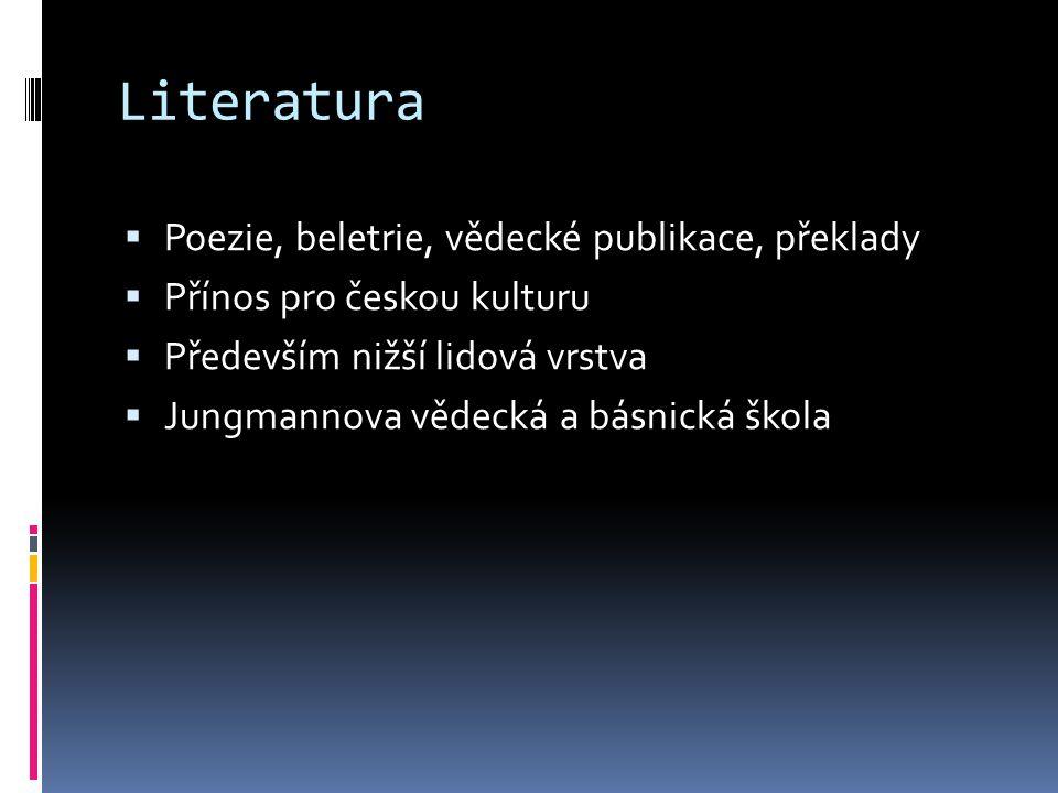 Literatura Poezie, beletrie, vědecké publikace, překlady