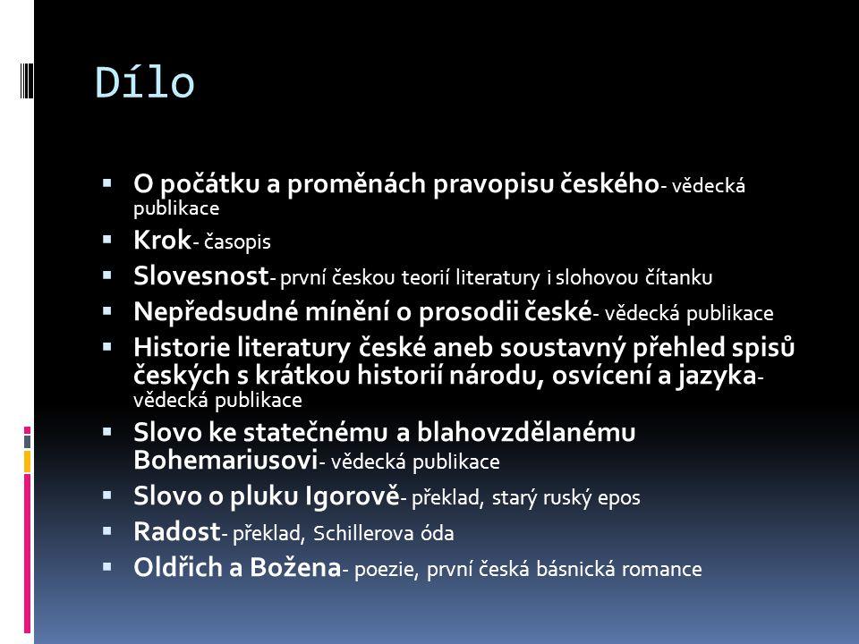 Dílo O počátku a proměnách pravopisu českého- vědecká publikace