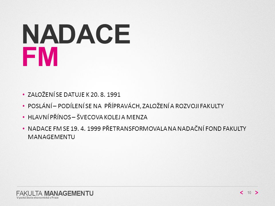 Nadace fM Založení se datuje k 20. 8. 1991