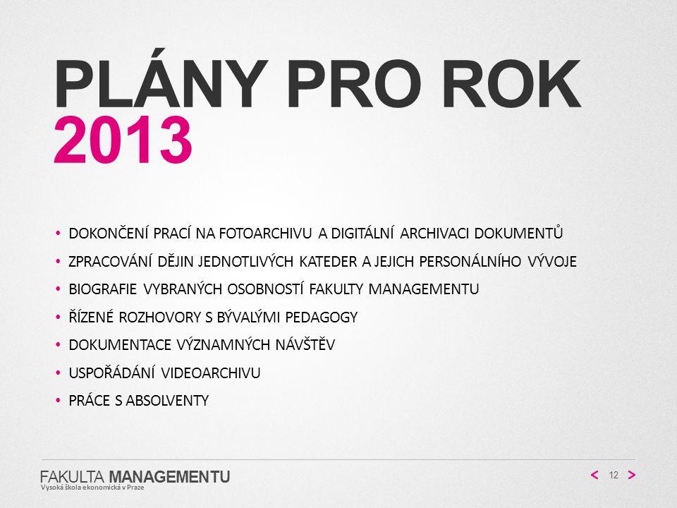Plány pro rok 2013 Dokončení prací na fotoarchivu a digitální archivaci dokumentů.