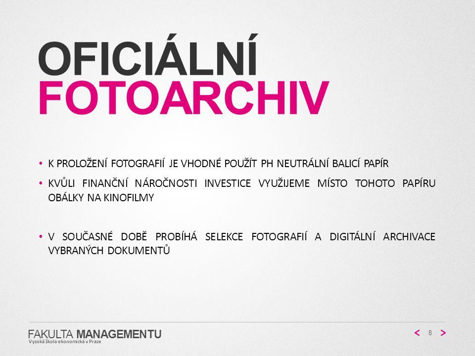 Oficiální fotoarchiv K proložení fotografií je vhodné použít ph neutrální balicí papír.
