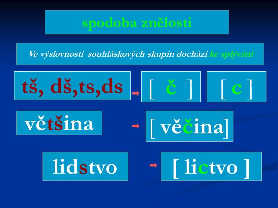 Ve výslovnosti souhláskových skupin dochází ke splývání