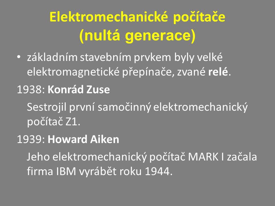 Elektromechanické počítače (nultá generace)