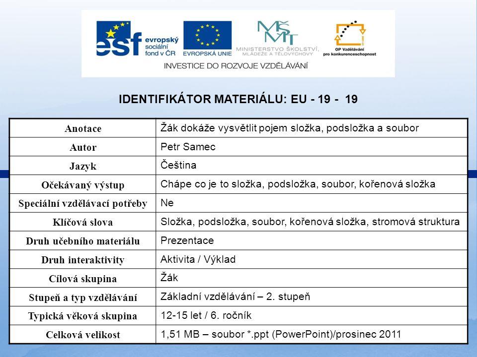 Identifikátor materiálu: EU - 19 - 19