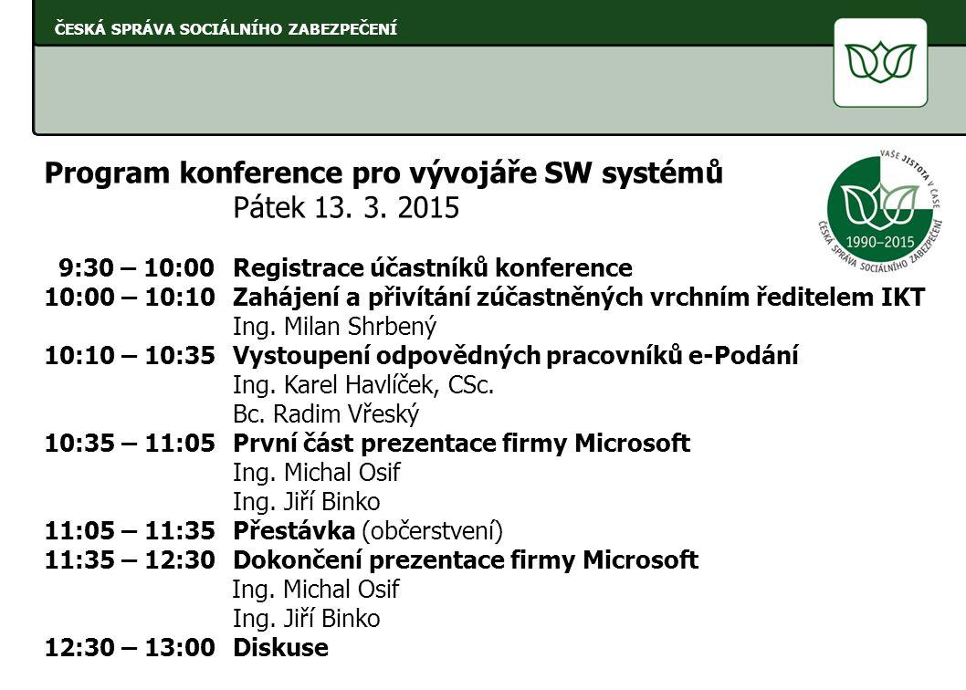Program konference pro vývojáře SW systémů Pátek 13. 3. 2015