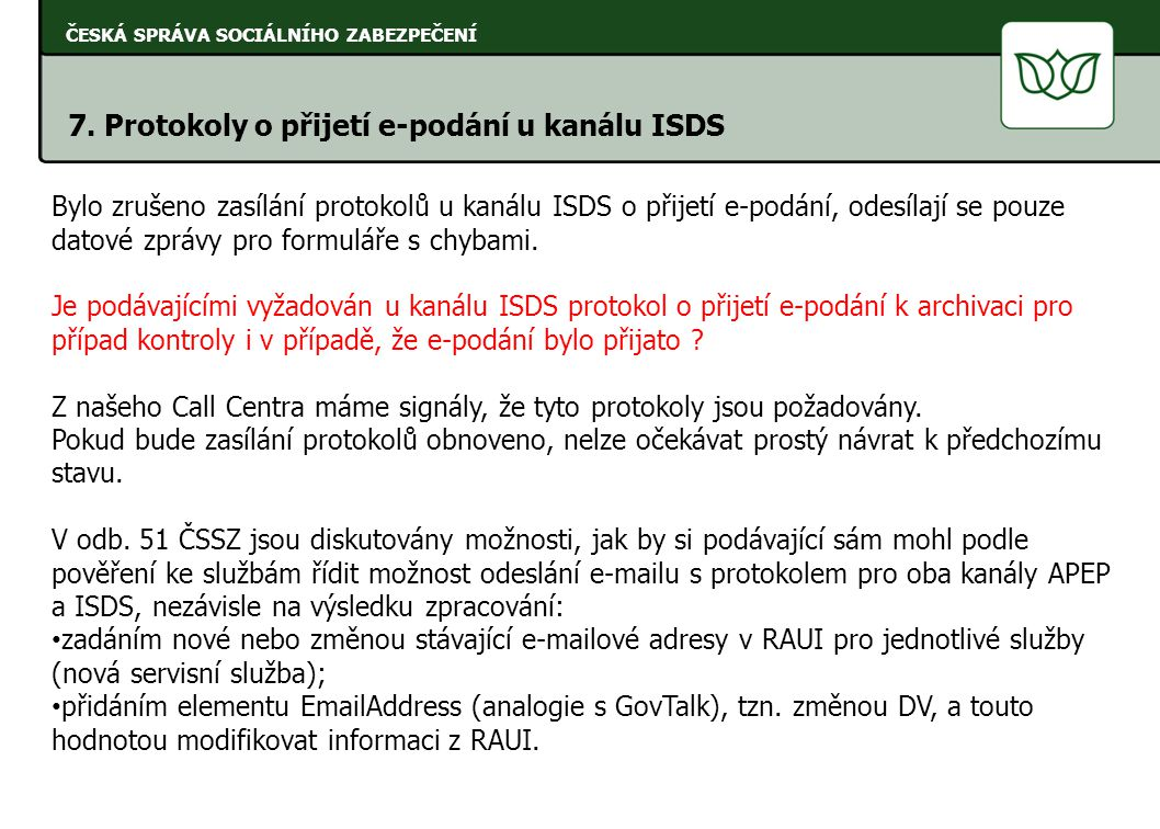 7. Protokoly o přijetí e-podání u kanálu ISDS