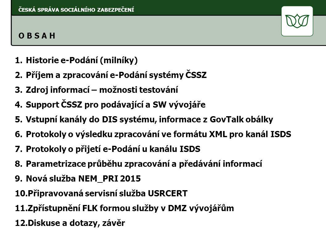 Historie e-Podání (milníky) Příjem a zpracování e-Podání systémy ČSSZ