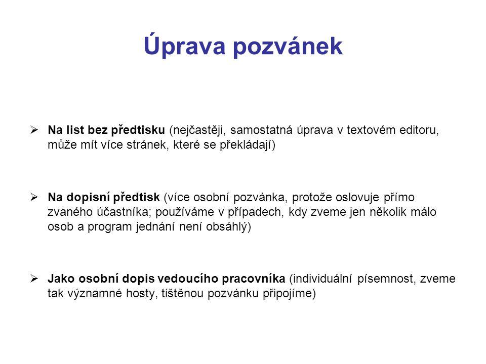 Úprava pozvánek Na list bez předtisku (nejčastěji, samostatná úprava v textovém editoru, může mít více stránek, které se překládají)