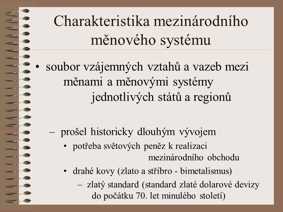 Charakteristika mezinárodního měnového systému