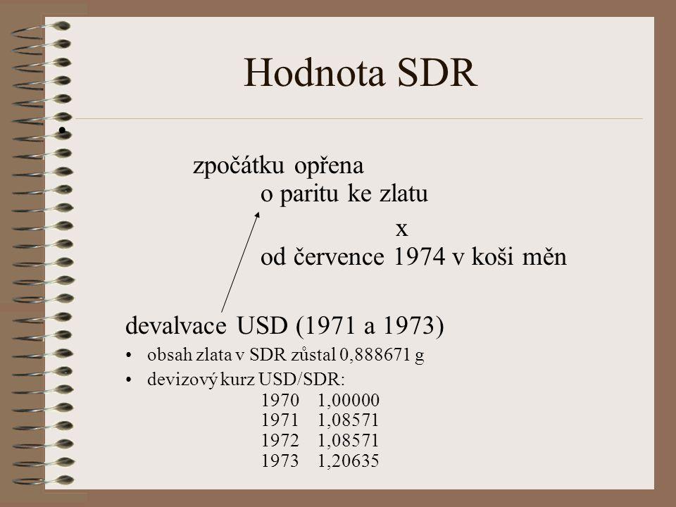 Hodnota SDR zpočátku opřena o paritu ke zlatu