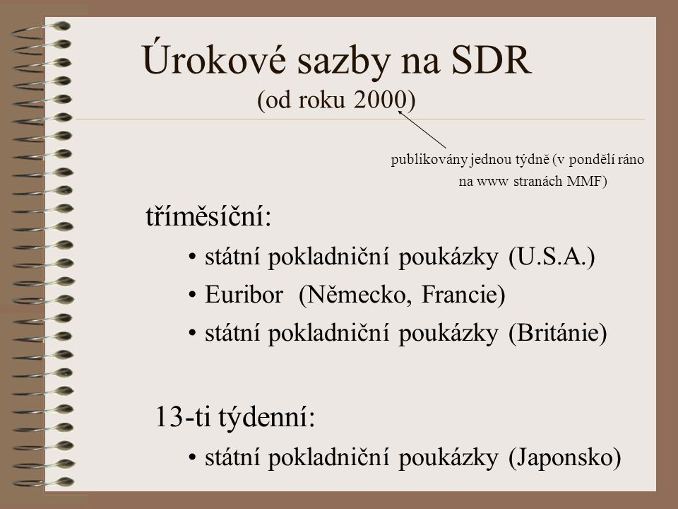 Úrokové sazby na SDR (od roku 2000)