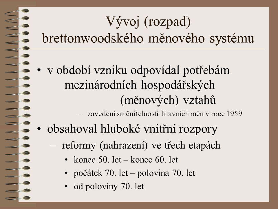 Vývoj (rozpad) brettonwoodského měnového systému